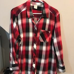 Plus Size red and black flannel